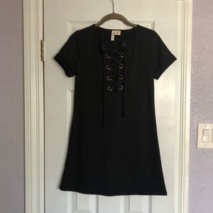 Mini Black Dress with lace up front